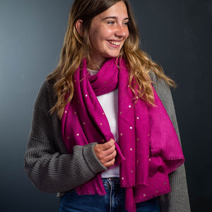 POM Vibrant pink scarf with rose gold stars