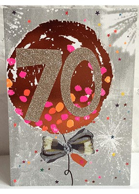 Paper Salad Age 70 Silver Balloon Card