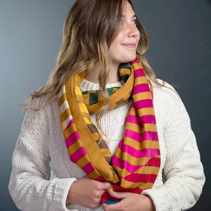 POM Mustard, Pink and Bright Yellow Circle Stripe Scarf