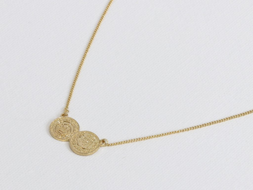 Big Metal Penny Small Delicate Necklace - Gold