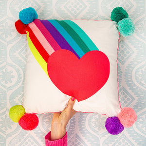 Bombay Duck Rainbow Burst with Heart Embroidered Cushion