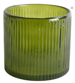 Load image into Gallery viewer, Grand Illusions Ribbed Hurricane Glass Vintage Green - Small
