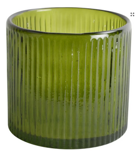 Grand Illusions Ribbed Hurricane Glass Vintage Green - Small