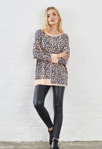 Sundae Tee Kim Animal Print Sweat, High Neck - Peach