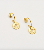 Load image into Gallery viewer, Estella Bartlett Starburst Drop Hoop Earrings - Gold Plated