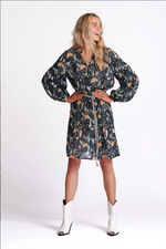 Load image into Gallery viewer, Pom Amsterdam Dress - Roses Midnight Blue Shimmer