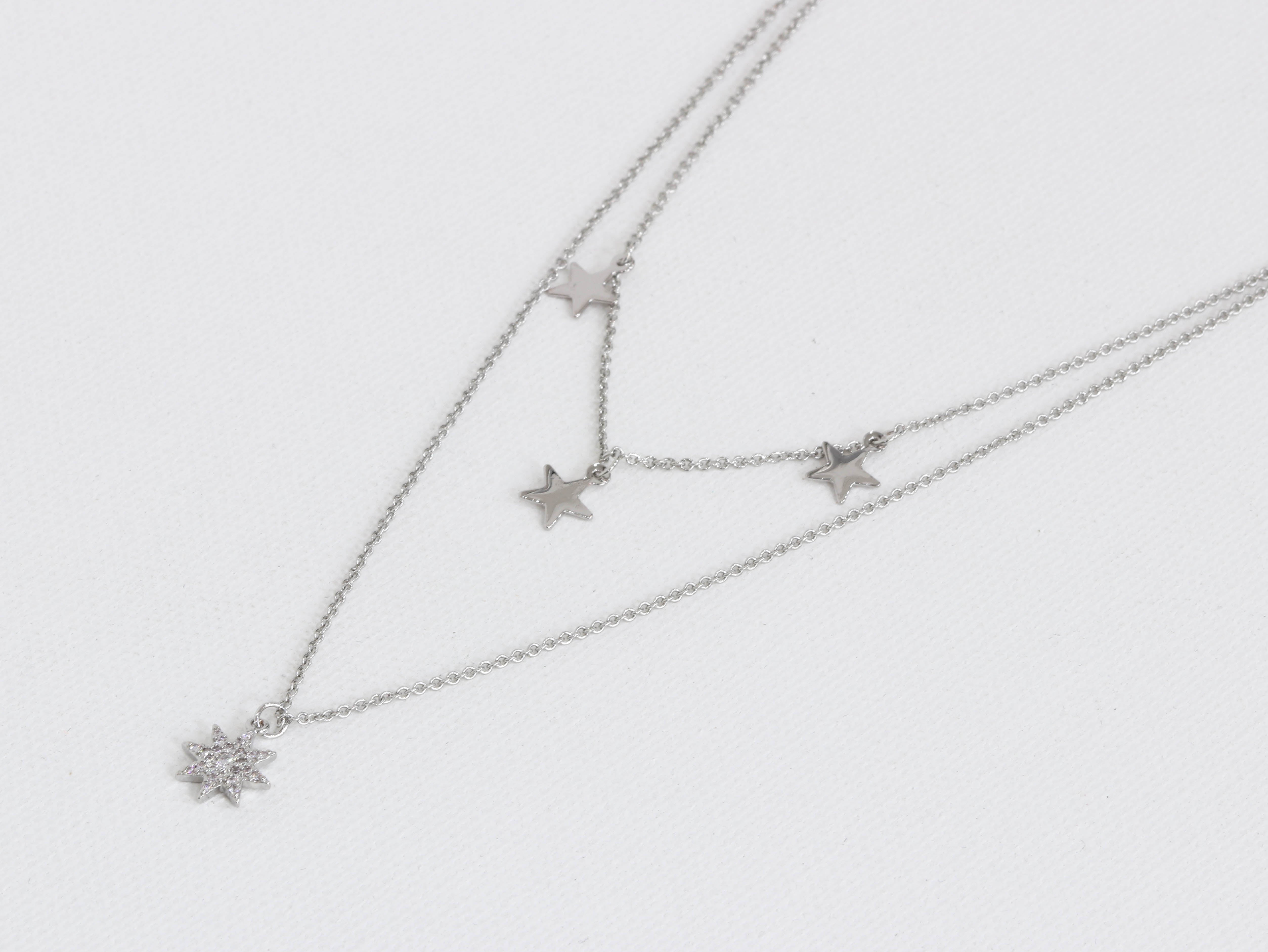 Big Metal Sienna Row Of Stars Multi Layered Necklace