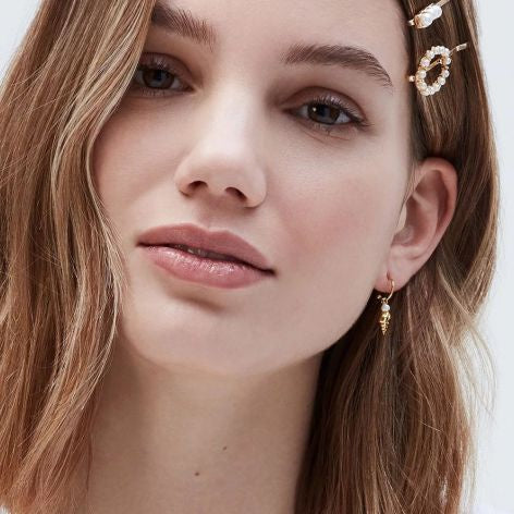 Estella Bartlett Shell and Pearl Mini Hoop Drop Earrings - Gold Plated