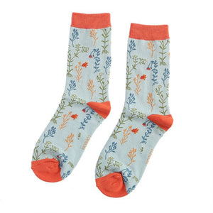 Miss Sparrow Wild Flowers Socks Duck Egg