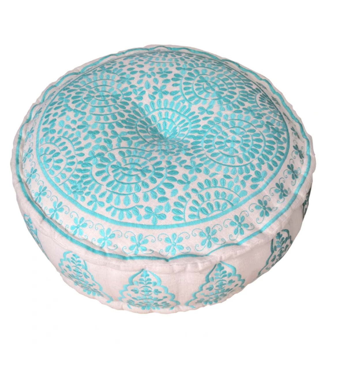 Bombay Duck Nomad Embroidered Pouf Turquiose