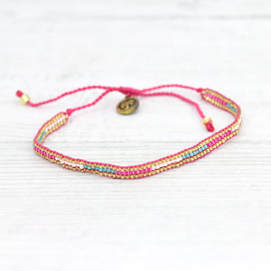 Pineapple Island Dainty Hot Pink and Teal Bracelet