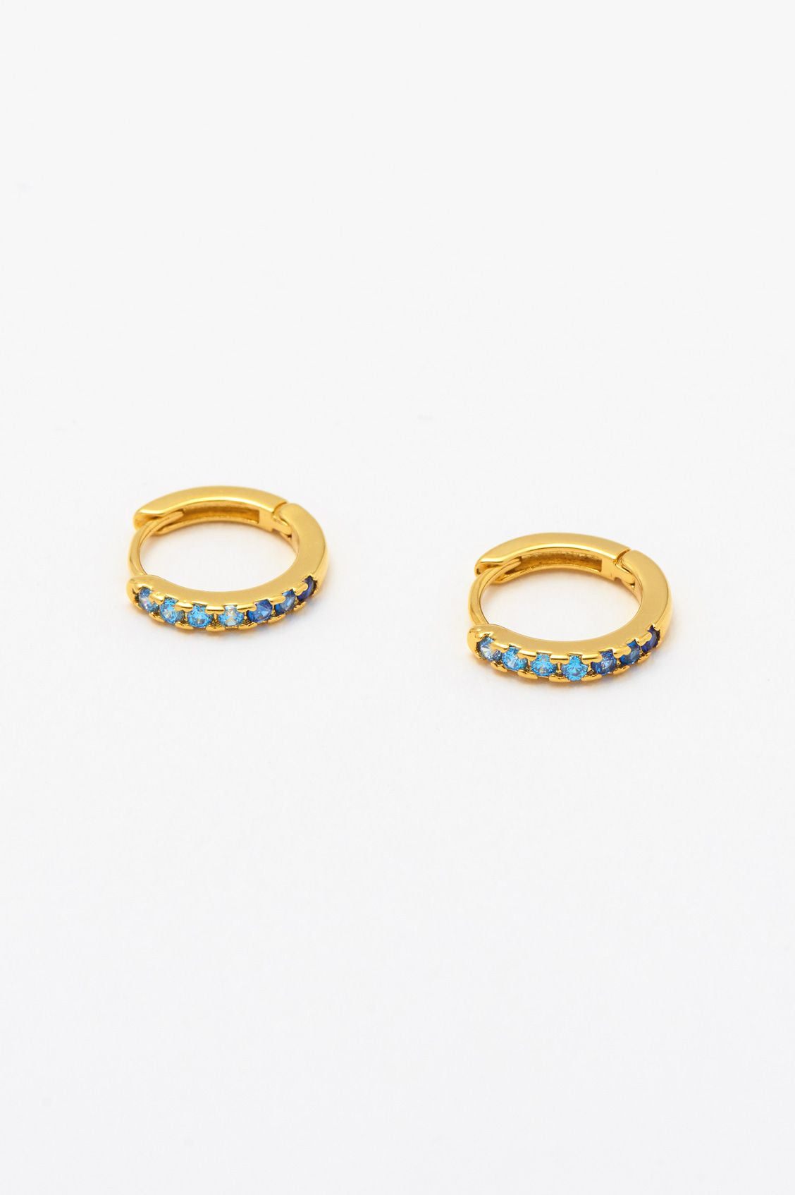 Estella Bartlett Ombre Blue CZ Hoop Earrings Gold Plated