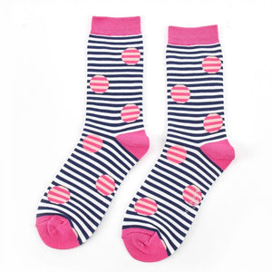 Miss Sparrow Spots & Stripes Socks Navy