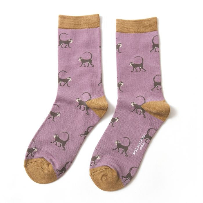 Miss Sparrow Monkeys Socks - Lilac