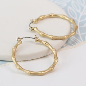 POM Worn Gold Bamboo Hoop Earrings