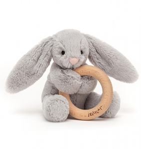 Jelllycat Bashful Silver Bunny Wooden Ring Toy