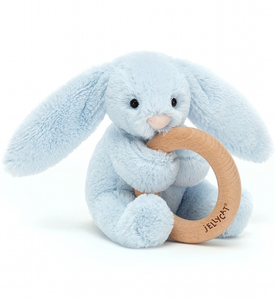 Jellycat Bashful Blue Bunny Wooden Ring Toy