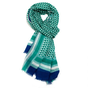 Miss Sparrow Little Squares Scarf -Green