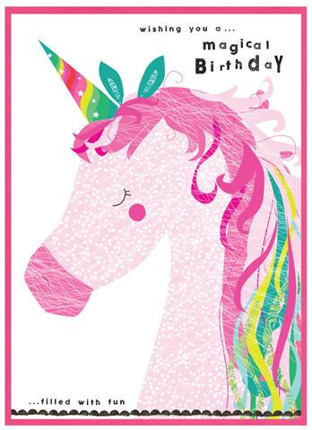 Cinnamon Aitch Card: Party popper, magical birthday, unicorn
