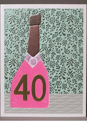 Paper Salad Pink 40th Birthday Card