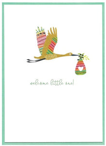 Cinnamon Aitch Card: Armadillo, welcome little one, stork