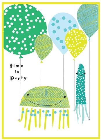 Cinnamon Aitch Card: Party Popper, time to party, jellyfish