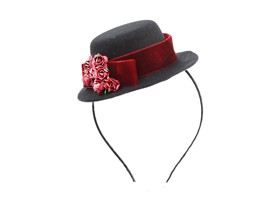 Vintage Hat Headband - Ruby