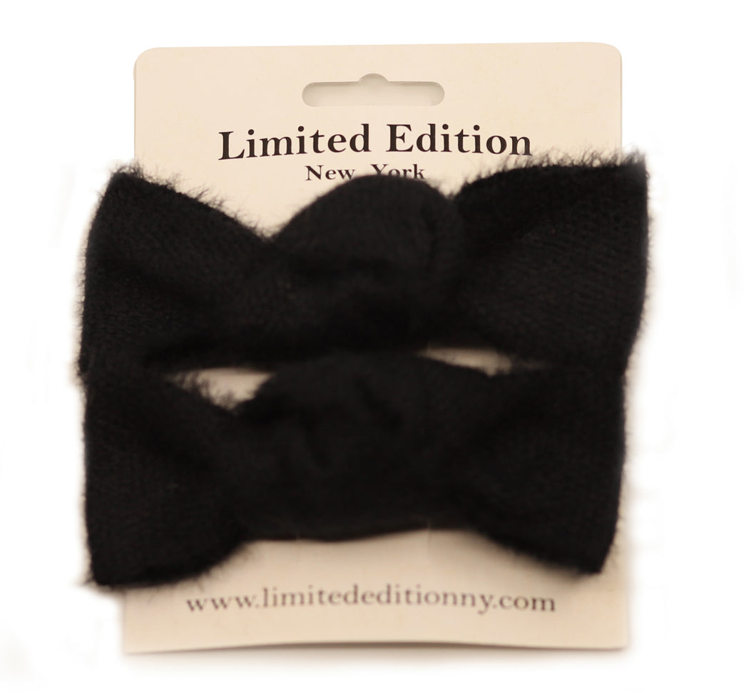Woolen Hair Clips (2 Pk) Black