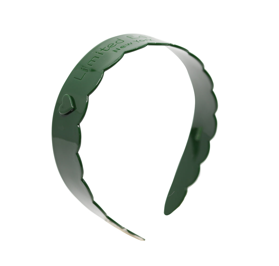 Acetate Scalloped Headband - Emerald