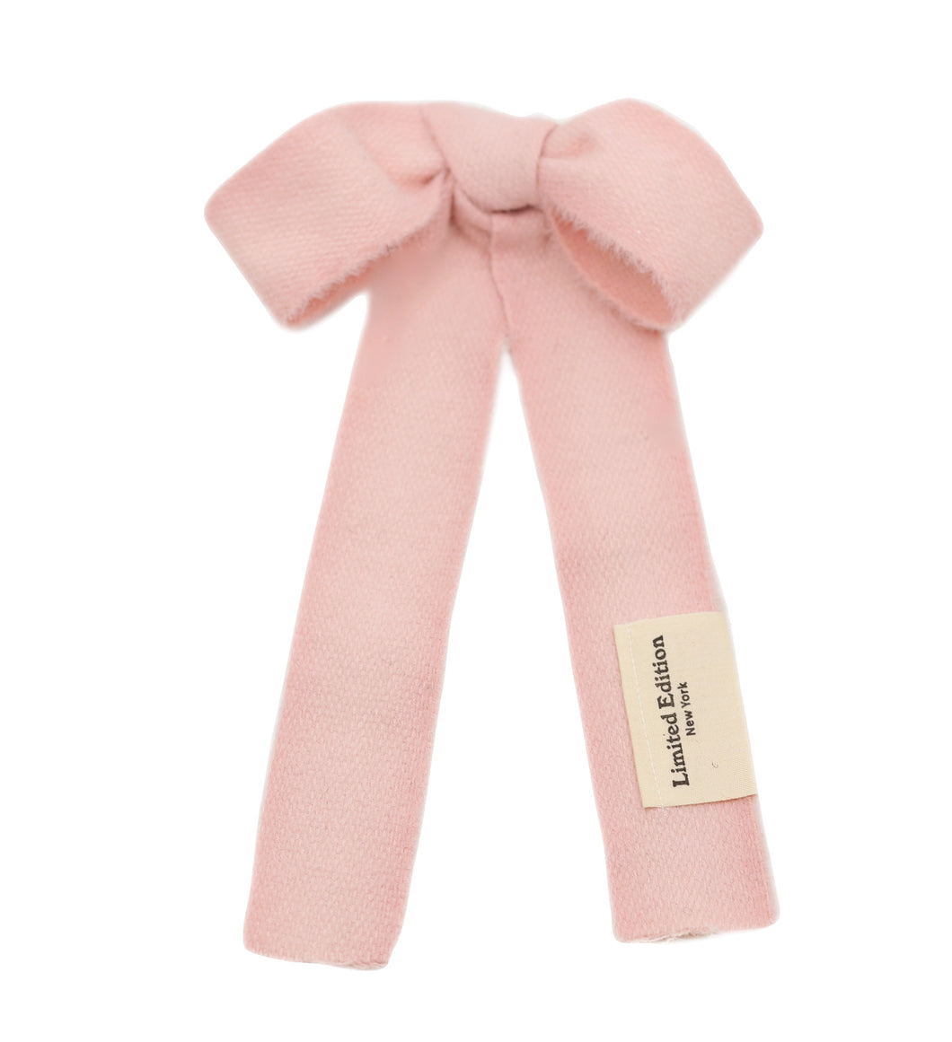 Woolen Hair Bow (L) Blush