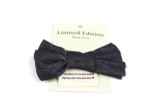 Denim Hair Bow - Black