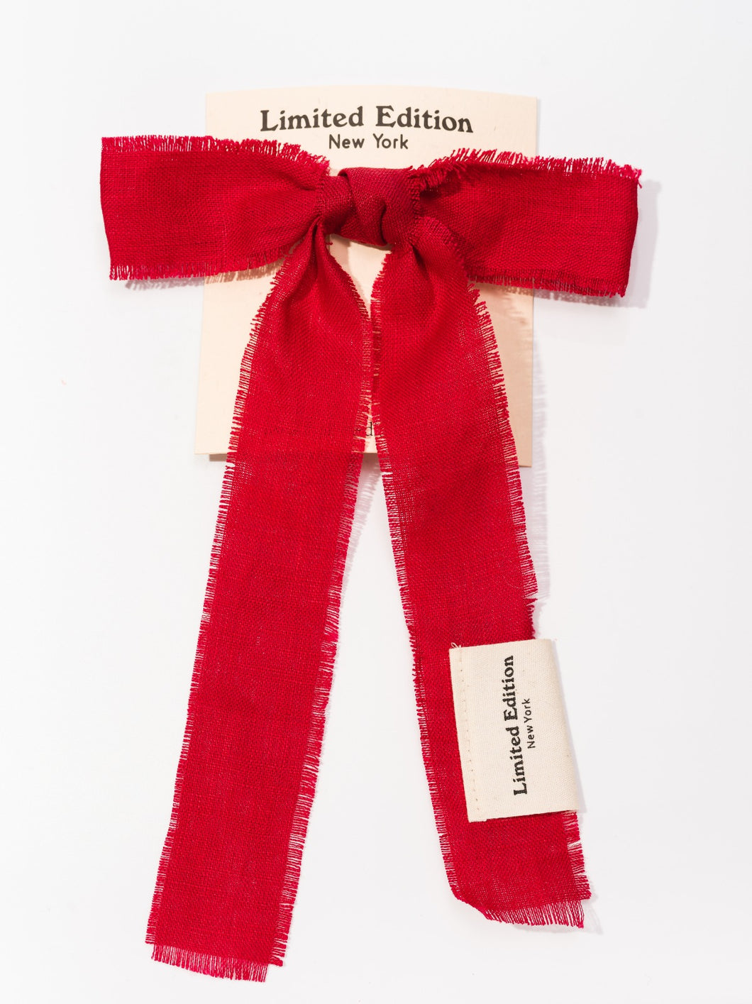 Linen Large Bow - Red