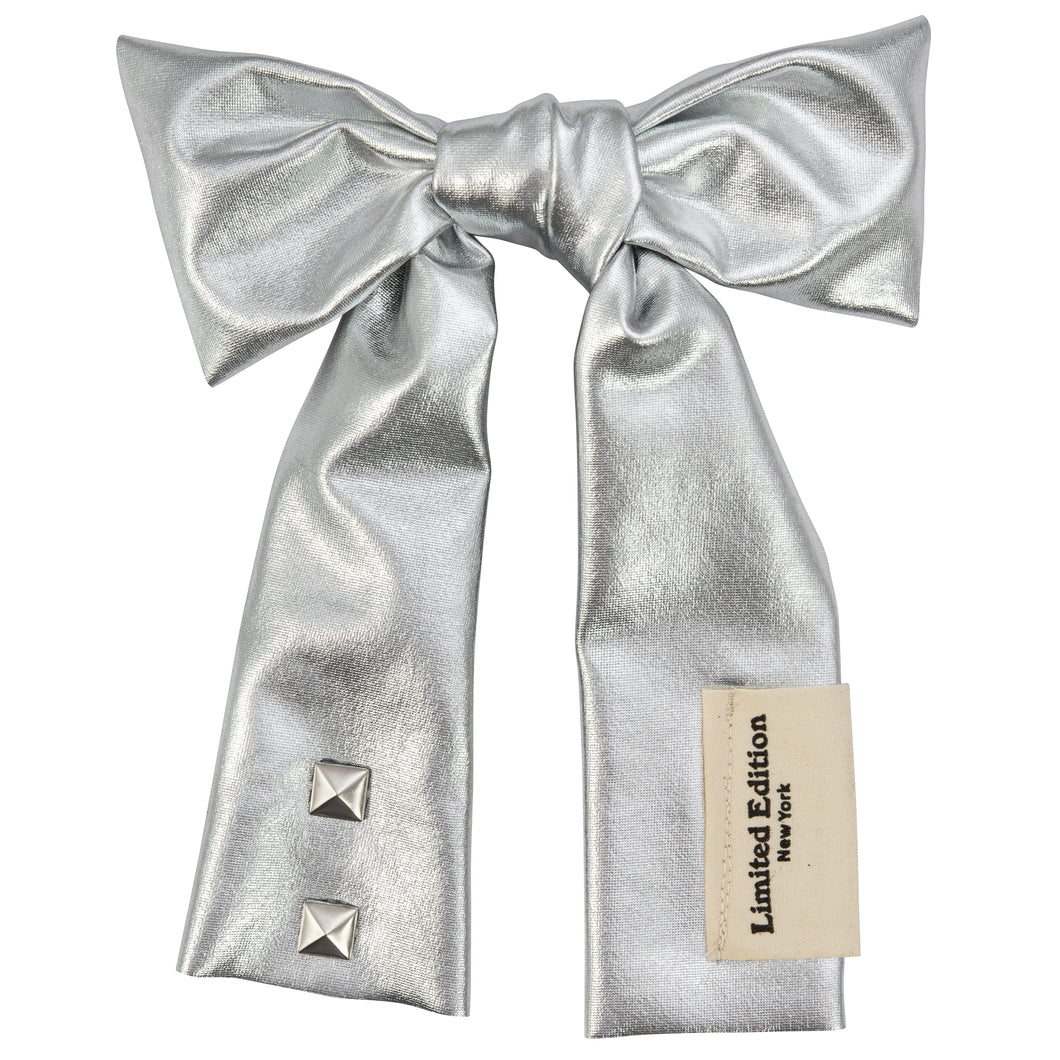 Metallic Jumbo Hair Bow - Silver