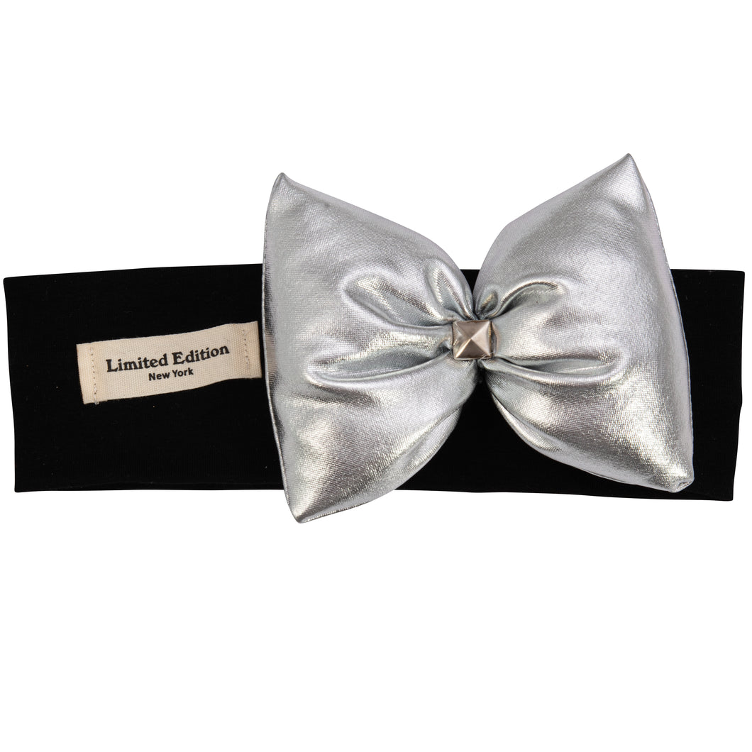 Metallic Pillow Bow Headband - Silver