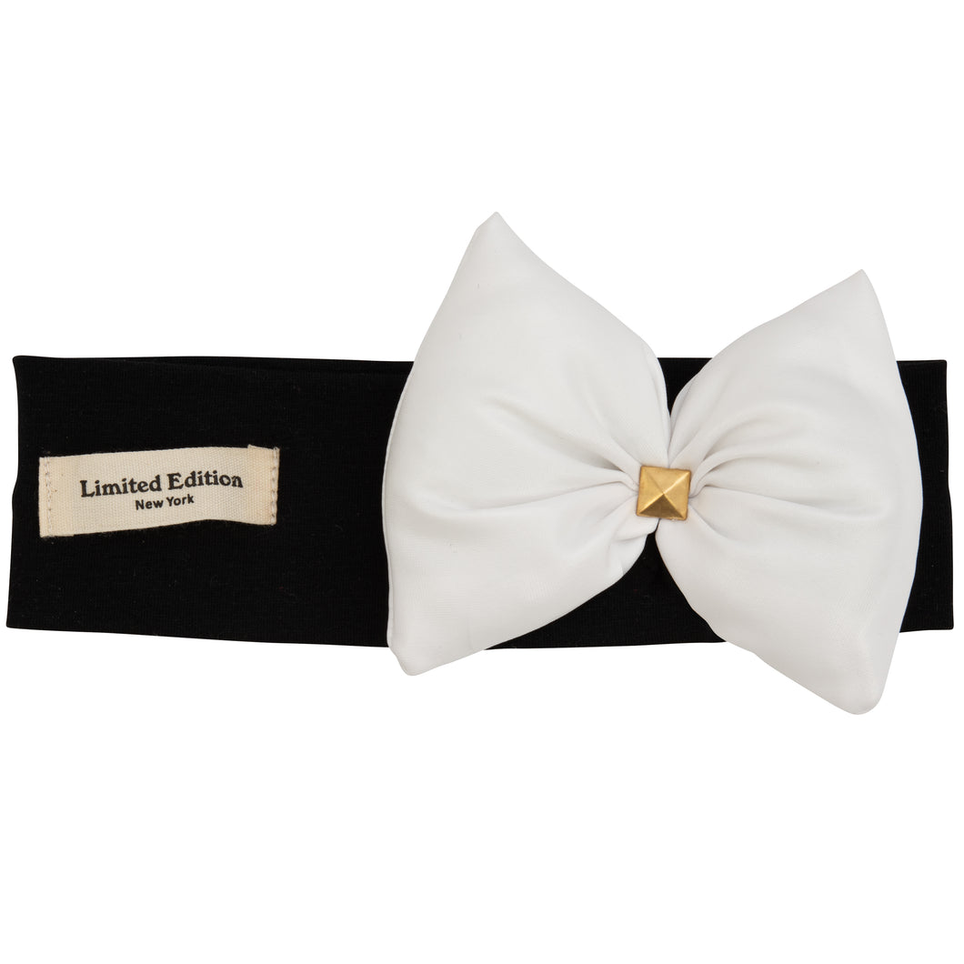 Metallic Pillow Bow Headband - White