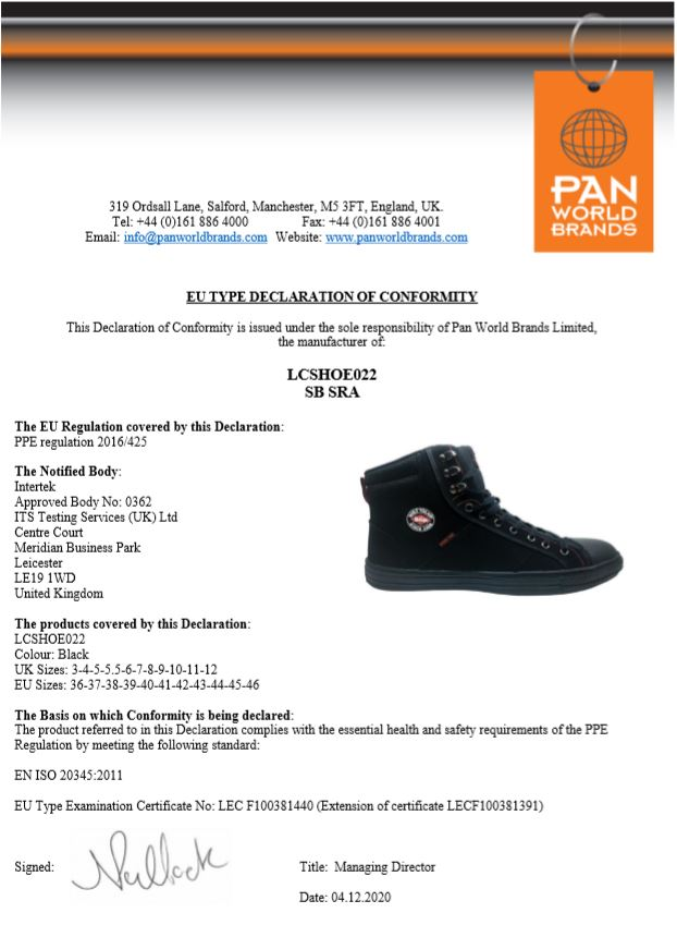LCSHOE022 Declaration of Conformity (Black)