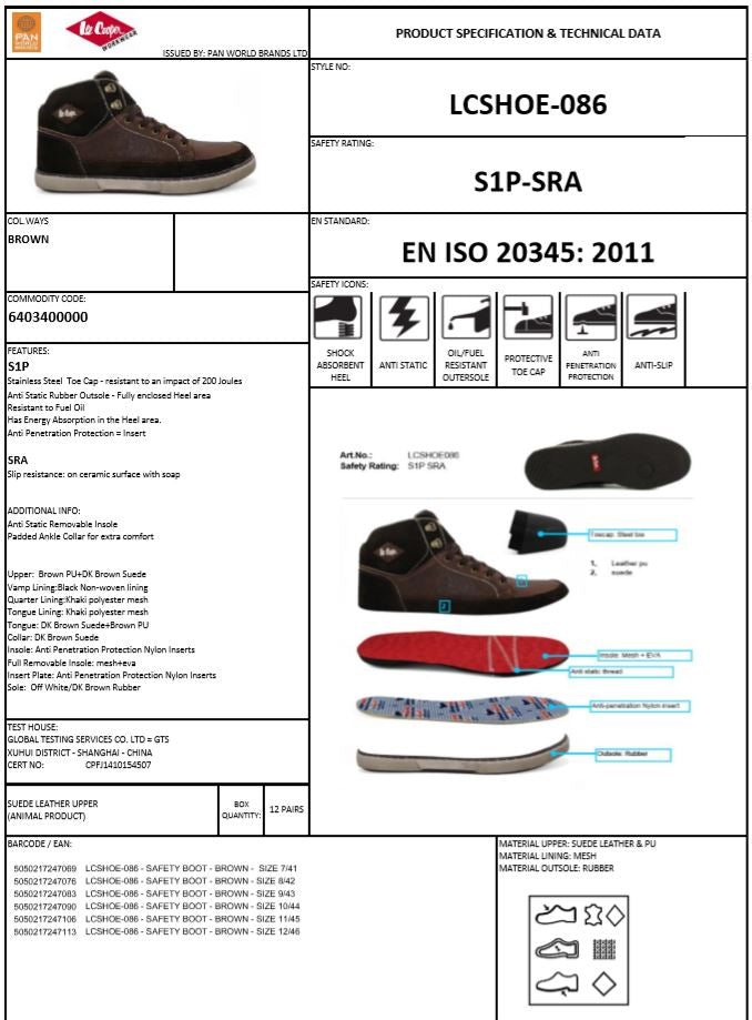 LCSHOE086 Footwear Specification