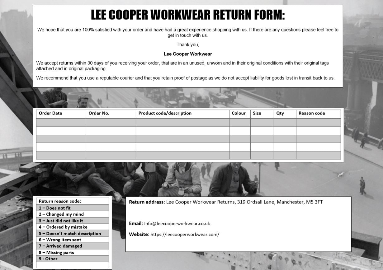 Lee Cooper Return Form
