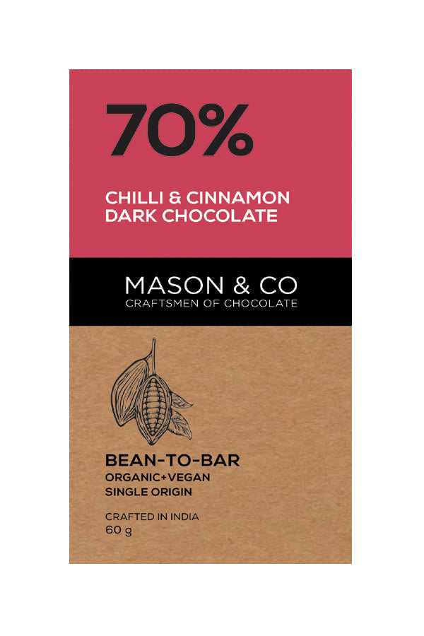 70% CHILLI CINNAMON DARK CHOCO BAR by MASON & CO - Vnya, Of the Wild