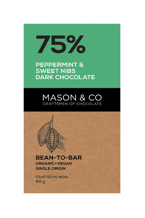 75% PEPPERMINT SWEET NIBS DARK CHOCO by MASON & CO - Vnya, Of the Wild