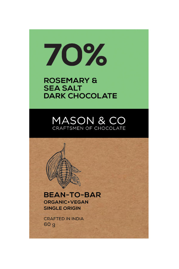 70% ROSEMARY SEASALT DARK CHOCO BAR by MASON & CO - Vnya, Of the Wild