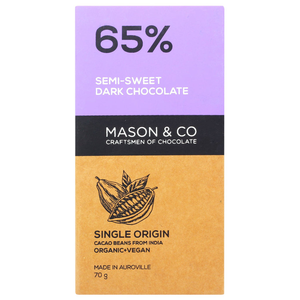 65% SEMI SWEET DARK CHOCO BAR by MASON & CO - Vnya, Of the Wild