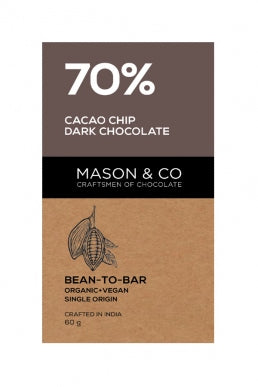 70% CACAO CHIP DARK CHOCO BAR by MASON & CO - Vnya, Of the Wild