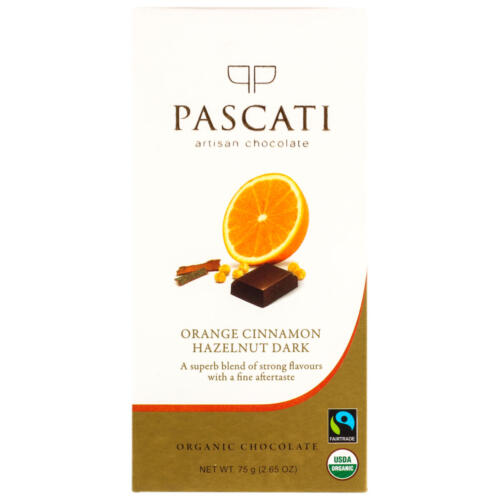 ORANGE CINNAMON HAZELNUT DARK CHOCO BAR by PASCATI - Vnya, Of the Wild