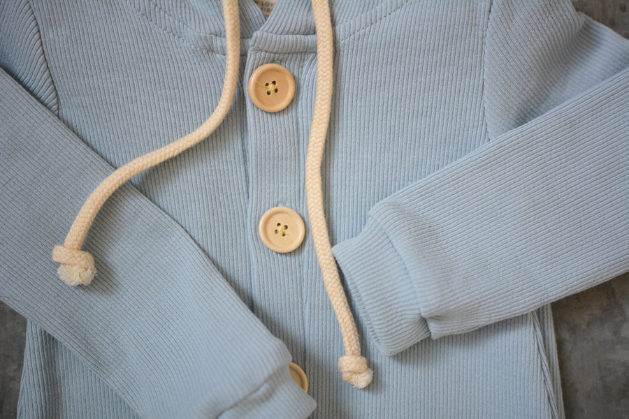 BASICS Cotton Ribbed Hooded All In One - DUSTY BLUE