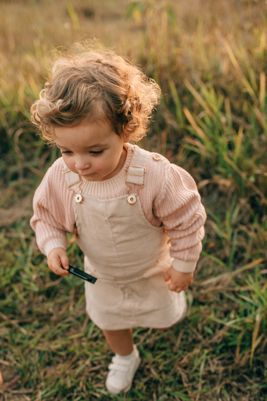 Hazel Cord Pinafore Dress - STONE
