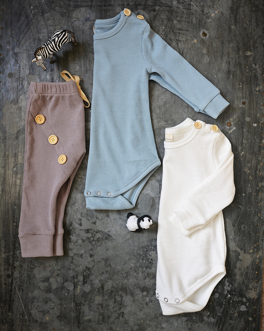 BASICS Cotton Ribbed Onesie/Top - DUSTY BLUE