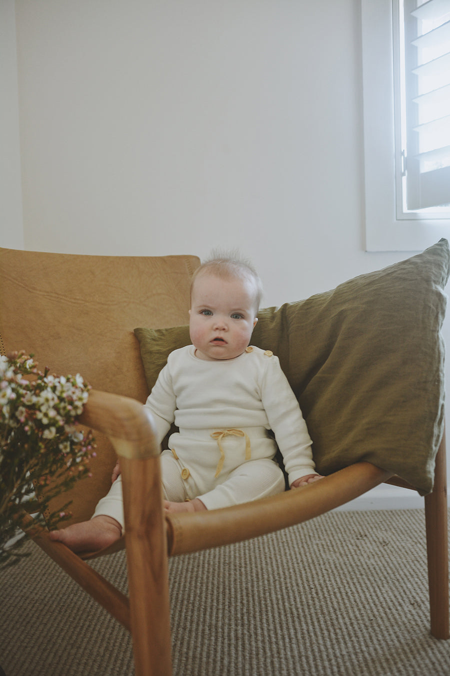 BASICS Cotton Ribbed Onesie/Top - MILK
