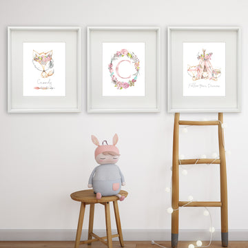 Fox/Teepee Trio Personalised Printable Artwork