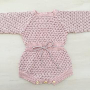 Honeycomb Knitted Romper - GRAPE